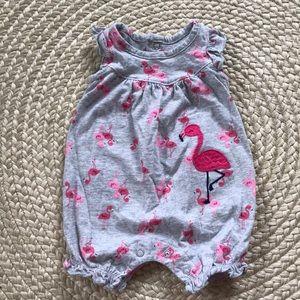 Carter's Newborn Flamingo Romper EUC